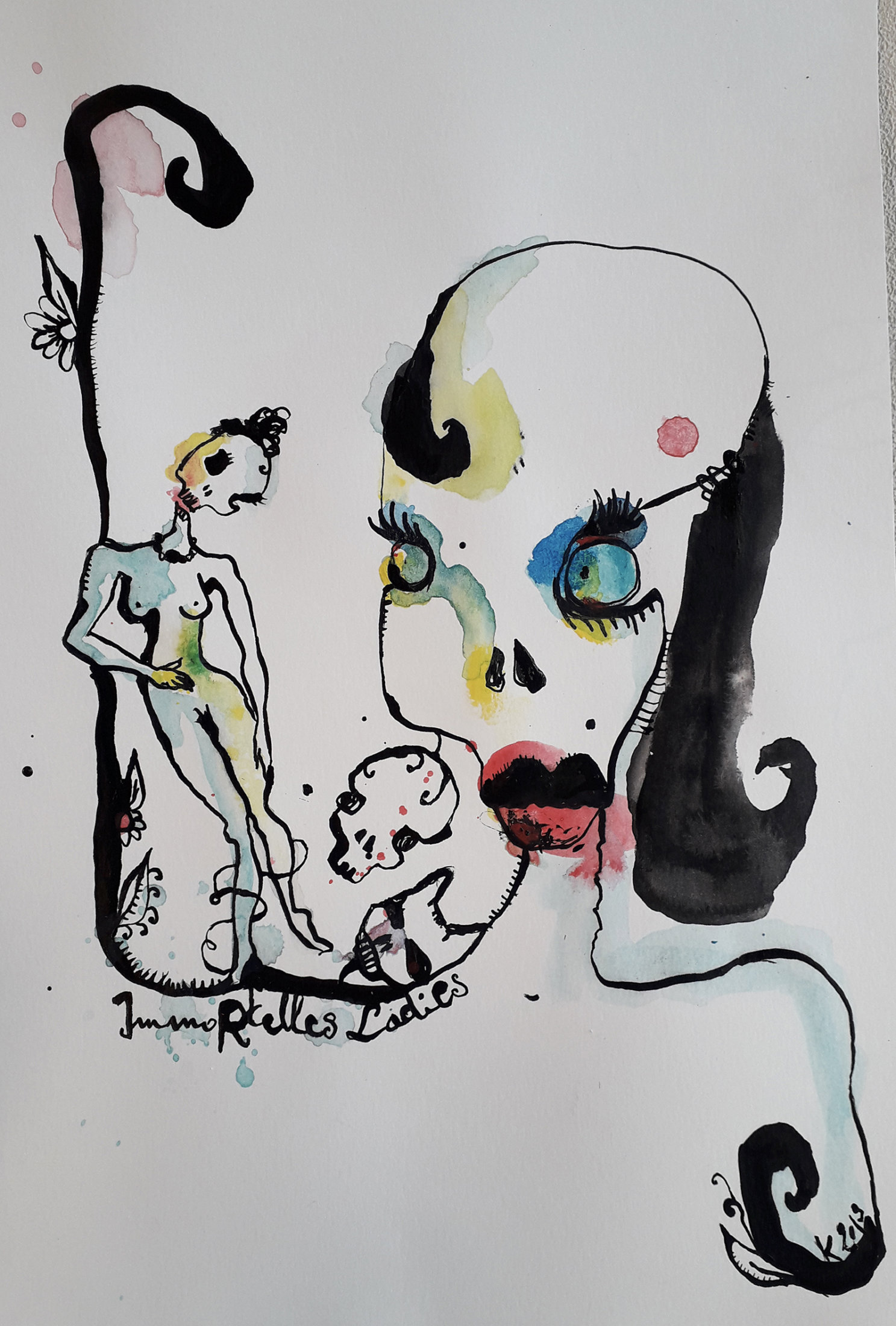 Immortelles ladies (encre de Chine, acrylique) 28 x 19,5 cm